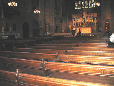 A view of the Sanctuary from just inside the main concert doors off W. 87th Street (doors are to the right of  where the photographer is standing).