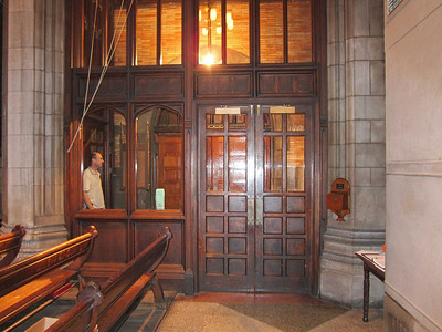 St Ignatius of Antioch: The vestibule that leads from the main entrance on 87th to the back of the sanctuary. Main transit point for patrons coming in for performances. Note: Doors to outside swing out, once the outer sliding doors have been moved.