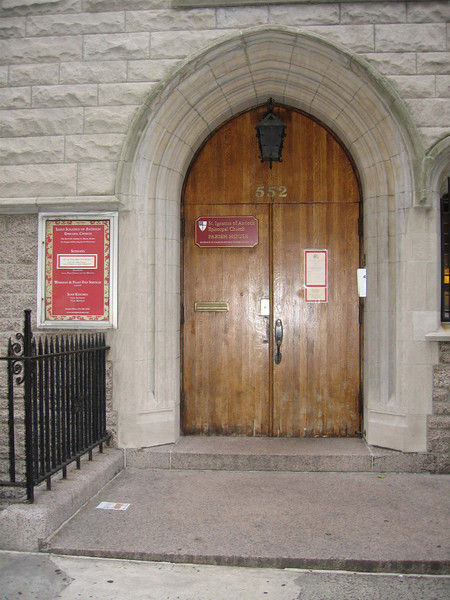 West End Avenue entrance leading to the basement common room or to the Sanctuary