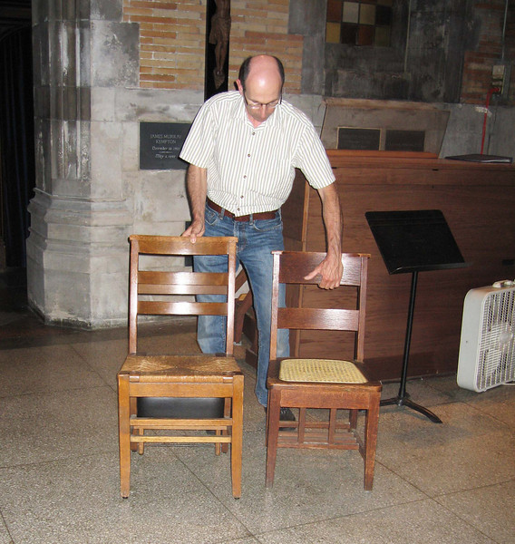 Two chair heights are available for musicians to sit on.