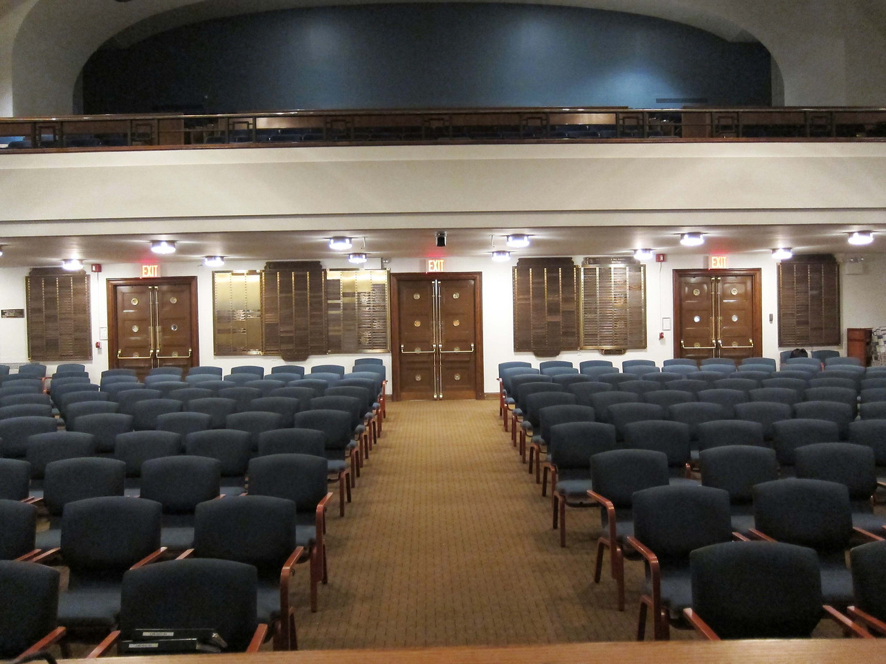 SWFS: The seating in the center shown here comprises 10 rows of chairs. The balcony is also available for seating and along with the main sanctuary and restrooms is handicap-accessible.