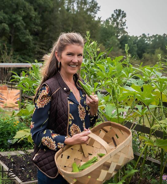 Kathy with okra