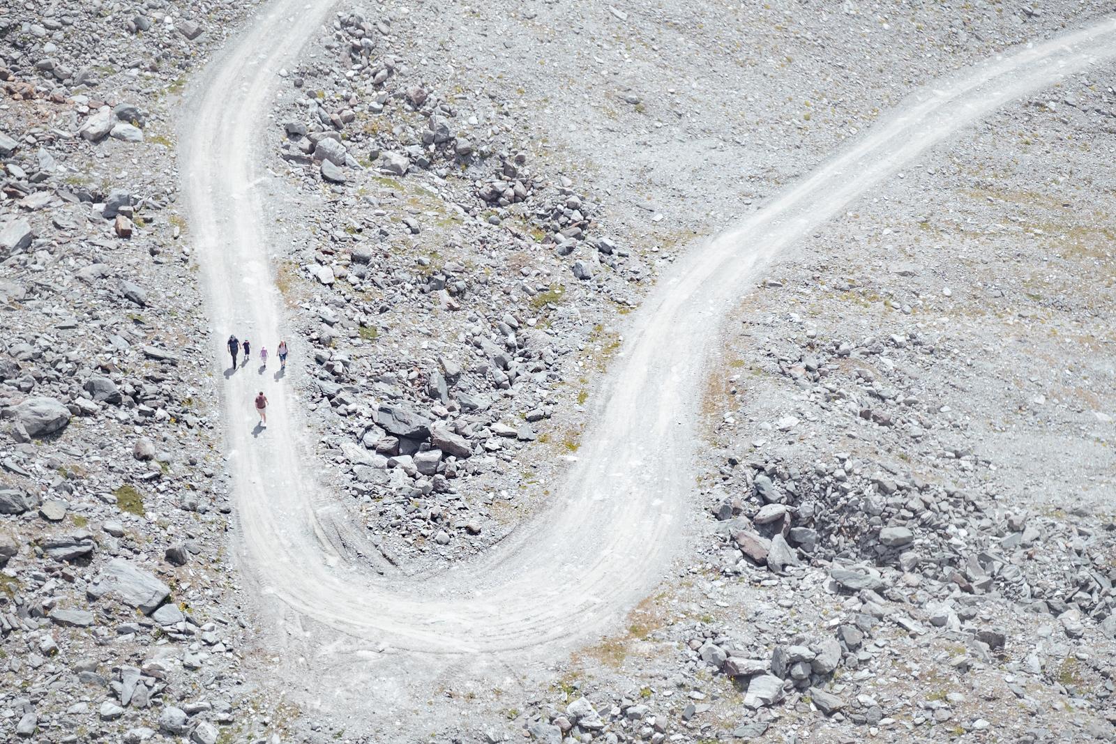 Group of people walking at Col des Gentianes Verbier