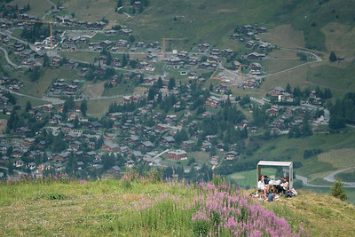 A familly enjoying Verbier in the summer