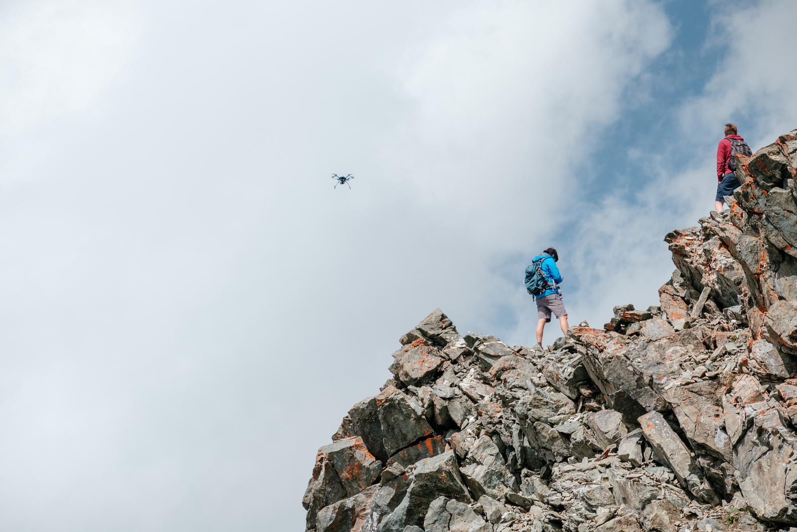 Tourists flying a drone at Mont Fort Verbier