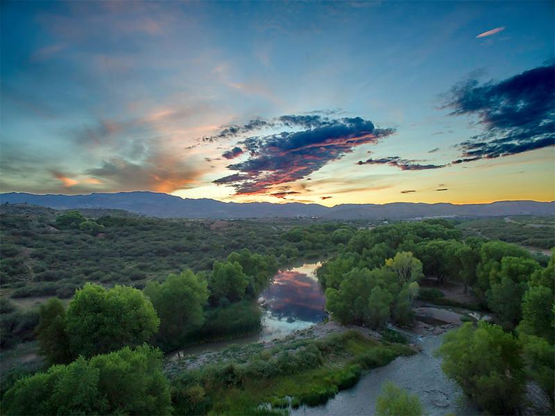 Sunset on Tuzigoot & Verde River, 8/28/15