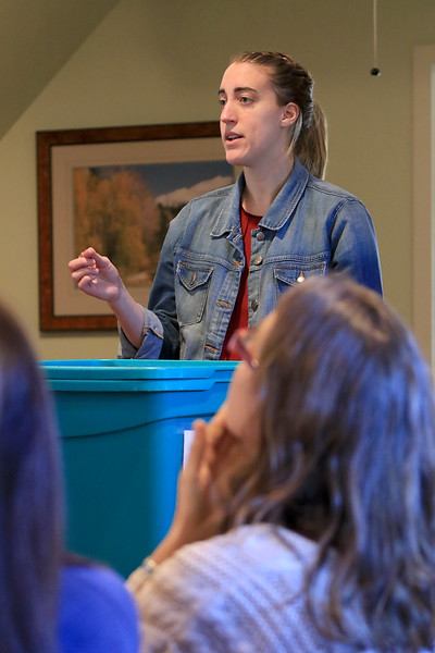 Growing Places in Leominster held a vermicomposting basics class on Saturday, February 9, 2019 at The Doyle Room at the Doyle Conservation Area in Leominster. Vermicomposting, or composting with worms, can be done in a worm bin in the comfort of your home. Teaching the workshop is Samantha Dokus, GP's Youth Program Coordinator, worm farmer and worm advocate for the Learn & Grow workshop. SENTINEL & ENTERPRISE/JOHN LOVE