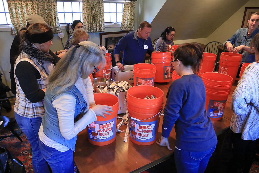 . Growing Places in Leominster held a vermicomposting basics class on Saturday, February 9, 2019 at The Doyle Room at the Doyle Conservation Area in Leominster. Vermicomposting, or composting with worms, can be done in a worm bin in the comfort of your home. The class builds some worm bins to take home. SENTINEL & ENTERPRISE/JOHN LOVE