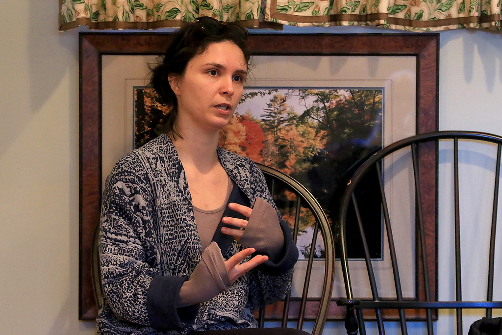 . Growing Places in Leominster held a vermicomposting basics class on Saturday, February 9, 2019 at The Doyle Room at the Doyle Conservation Area in Leominster. Vermicomposting, or composting with worms, can be done in a worm bin in the comfort of your home. GP\'s Educational Program Manager Molly Peterson gives some tips to the class during the workshop. SENTINEL & ENTERPRISE/JOHN LOVE
