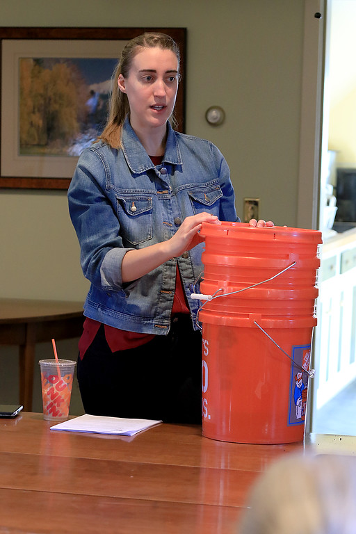 . Growing Places in Leominster held a vermicomposting basics class on Saturday, February 9, 2019 at The Doyle Room at the Doyle Conservation Area in Leominster. Vermicomposting, or composting with worms, can be done in a worm bin in the comfort of your home. Teaching the workshop is Samantha Dokus, GP\'s Youth Program Coordinator, worm farmer and worm advocate for the Learn & Grow workshop. SENTINEL & ENTERPRISE/JOHN LOVE