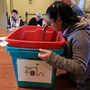 Growing Places in Leominster held a vermicomposting basics class on Saturday, February 9, 2019 at The Doyle Room at the Doyle Conservation Area in Leominster. Vermicomposting, or composting with worms, can be done in a worm bin in the comfort of your home. Participant in the class Ladda Kosaketh of Leominster checks instructor Samantha Dokus, GP's Youth Program Coordinator, worm farmer and worm advocate's bin she had already made for her house during the workshop. SENTINEL & ENTERPRISE/JOHN LOVE