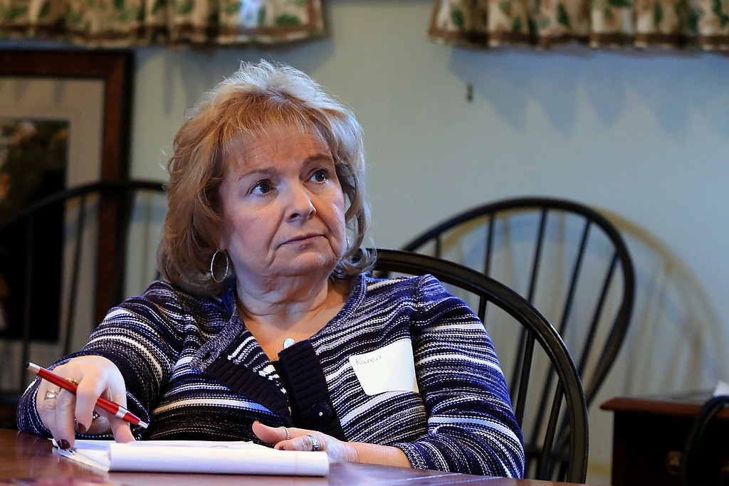 . Growing Places in Leominster held a vermicomposting basics class on Saturday, February 9, 2019 at The Doyle Room at the Doyle Conservation Area in Leominster. Vermicomposting, or composting with worms, can be done in a worm bin in the comfort of your home. Karen Catalano of Leominster listens to Samantha Dokus, GP\'s Youth Program Coordinator/worm farmer/worm advocate for the Learn & Grow vermicomposting workshop. SENTINEL & ENTERPRISE/JOHN LOVE