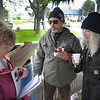 """Mayor Bulan giving instructions to """"new-to-Vermilion,"""" from Louisville Ohio--near Akron,... are Tom and Charlene Jendro."""
