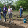 Barb Mueller, Megan Grantham, Mary and Dennis Lamont and David Deucher in coveralls, planting at the brand new GRACE'S GARDENS, to supply 4 vegetable varieties for GRACE'S KITCHEN by Summer...