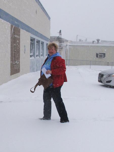 Marsha Funk was the second customer on Saturday morning.