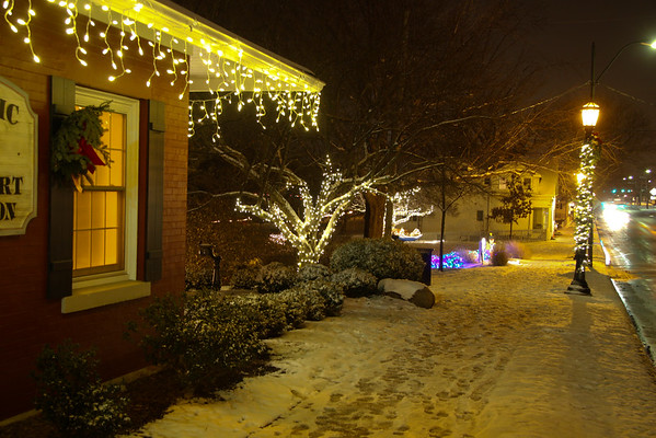 Vermilion. on a Wintery night, dinghys, Gazebos, Christmas trees make Vermilion a Place to be