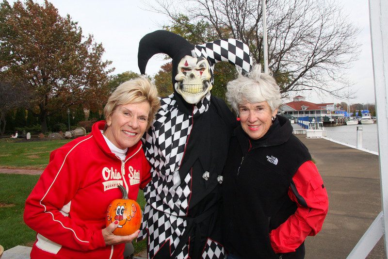 Carol Caple Tarrier, Jester of the North Coast and Jane Weaver taking a break from handing out candy for Trick or Treaters.