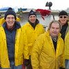 Ship crew: Ron Philips,  Peter Corogin, Dick Bulan and George Philips, all smiles after delivering the Christmas trees !