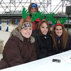 Christmas tree elves, left to right:  Elisabeth Buchanan, Samantha Yeager and Kaitlyn Wenzel. Christmas Tree Ship Event Manager, in back is Jo Ann Howley, President of Mainstreet Vermilion.