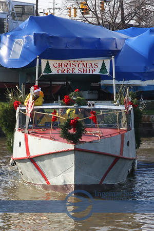 The Christmas Tree Ship arrives in Vermilion December 3, 2012, Ohio--a genuine family event.