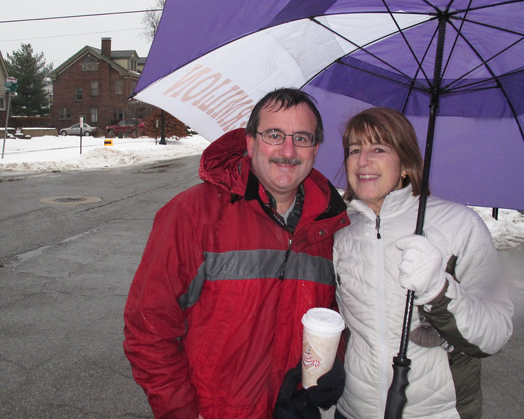 Polar Run volunteers..Jim and Shelley Innes are in good spirits in the rain.