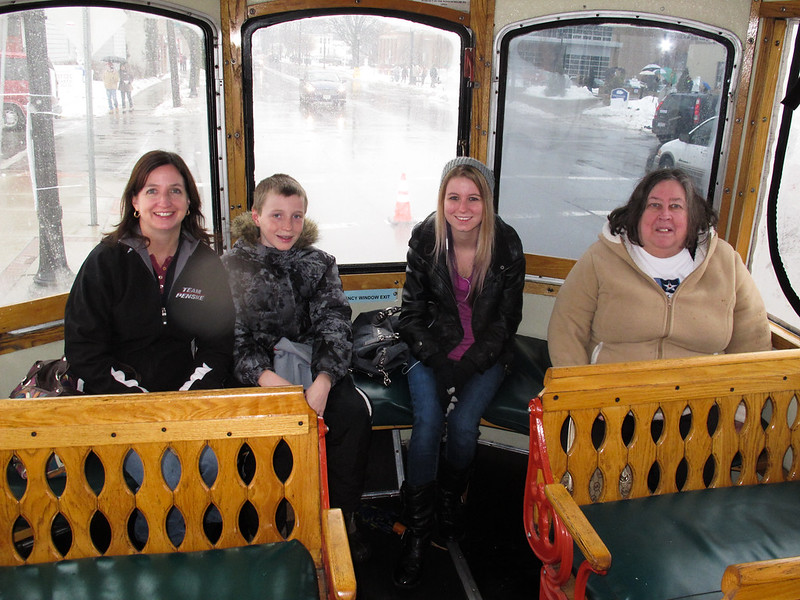 Tricia, Chris and Breanna Bringman and Nancy McVain ready for a Lolly the Trolley ride.