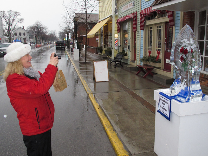One of Vermilion's newest residents...Patti Criswell taking a photo of a sculpture.