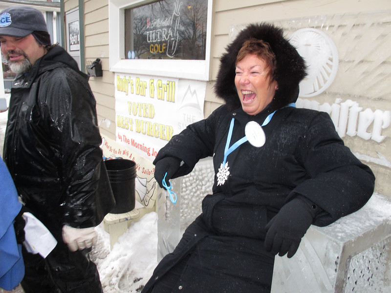 Carolyn Hill, thought it would be fun to TEST sit in the RUDY's Jägermeister Chair...She was stuck..her<br /> jacket adhered to the ice !