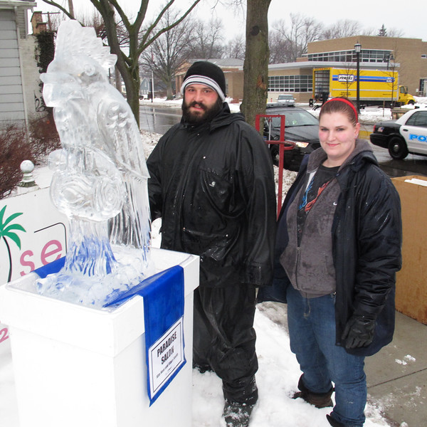 Jeff Meyers and Sue, Elegant Ice employees just installed this sculpture.