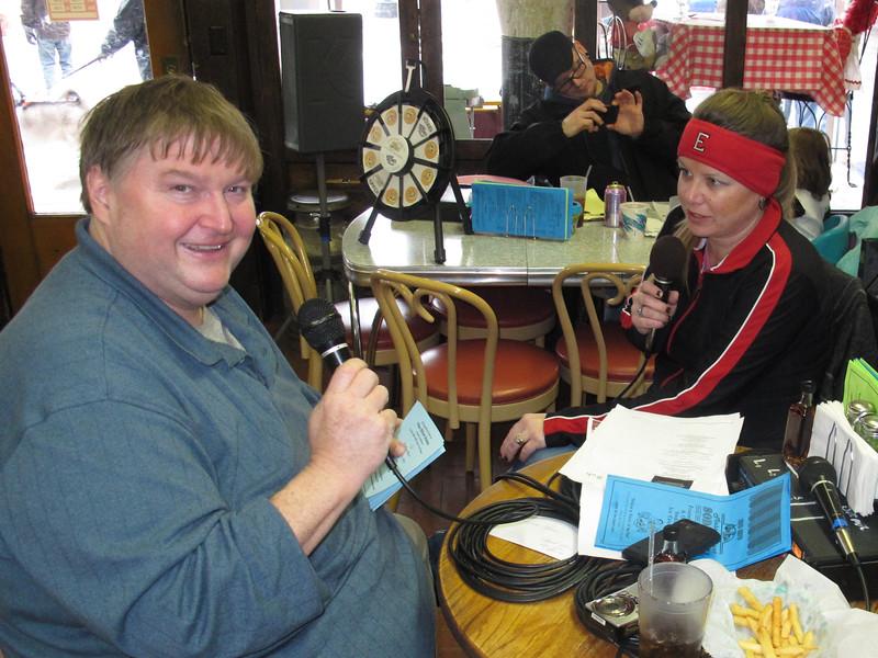 Oberlin Radio DJ, Little John inside Soda Grille.
