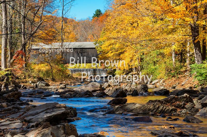 Green River Covered Bridge and Crib Dam in Fall