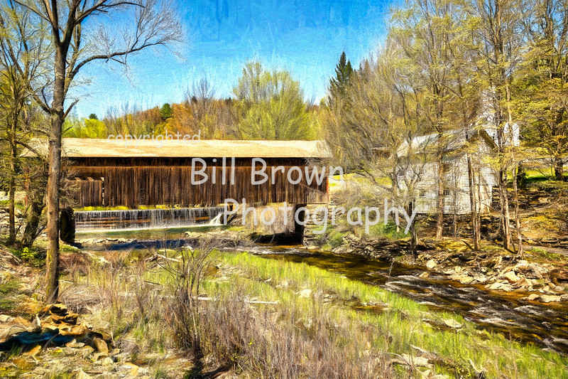Green River Covered Bridge in Spring (colored pencil)