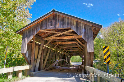 1872 Covered Bridge Near South Cambridge VT, see the arch supporting the bridge