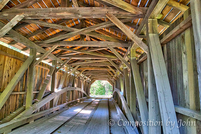 1872 Covered Bridge Near South Cambridge VT, see the arches that support the bridge
