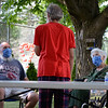 David LaChance — Bennington Banner<br /> From left, Kevin Borden, his brother Mike, and their mother, Terese Borden, talk in the courtyard of the Vermont Veterans' Home in Bennington on Sunday.