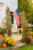 Autumn pumpkin and flag display at the Calvary Chapel Church in Townsend, Vermont, USA.