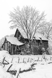 Barn in Snow - Vertical B&W