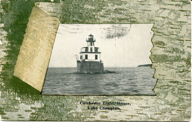 An old postcard view showing the Colchester Reef Lighthouse on its foundation in Lake Champlain.