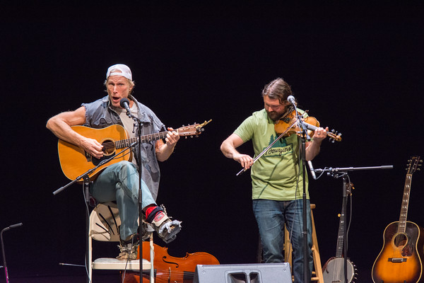 Two of Vermont's favorite sons-The Logger (aka Rusty DeWees) and The Fiddler (aka Patrick Ross) had the capacity crowd at the Lebanon Opera House laughing, clapping and having a good time all night. Nancy Nutile-McMenemy photograph.