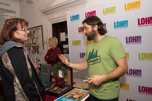 Patrick Ross, The Fiddler, speaks with a fan after the show in the Opera House lobby. Nancy Nutile-McMenemy photograph.