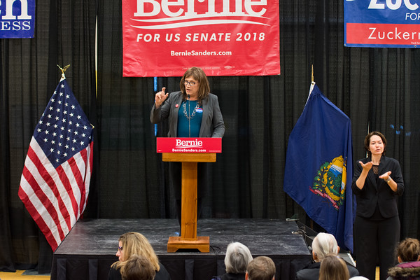 """Christine Hallquist, candidate for governor of Vermont speaks to the crowd. """"Vermont is a place that is an example for the rest of the country"""" she said. She went on to say that the success of the economy should be measured by """"how it impacts the bottom 20%."""" She closed her speech by saying """"get every single person you know to vote."""" Nancy Nutile-McMenemy photograph."""