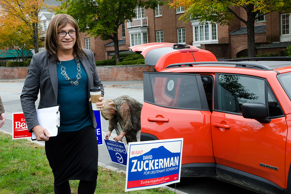 Candidate Christine Hallquist arrives in Woodstock for the rally. Nancy Nutile-McMenemy photograph.