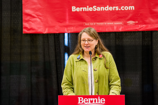 Gina Ottoboni, a candidate for state representative for Rutland-Windsor 1 (Bridgewater, Chittenden, Killington and Mendon), was endorsed by Senator Bernie Sanders on Friday and was asked to speak at the rally. Nancy Nutile-McMenemy photograph.
