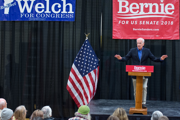 """Congressman Peter Welch told the crowd that by voting on November 6, everyone has the opportunity to """"defend our Democracy."""" Nancy Nutile-McMenemy photograph."""