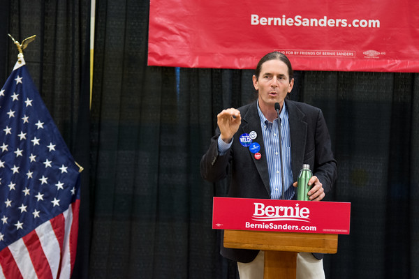 """David Zuckerman Vermont's lieutenant governor told the crowd """"we have an opportunity to do what's right"""" and asked """"what are you going to do for the next 30 days?"""" The mid-term election and state race votes will be held on November 6. Nancy Nutile-McMenemy photograph."""