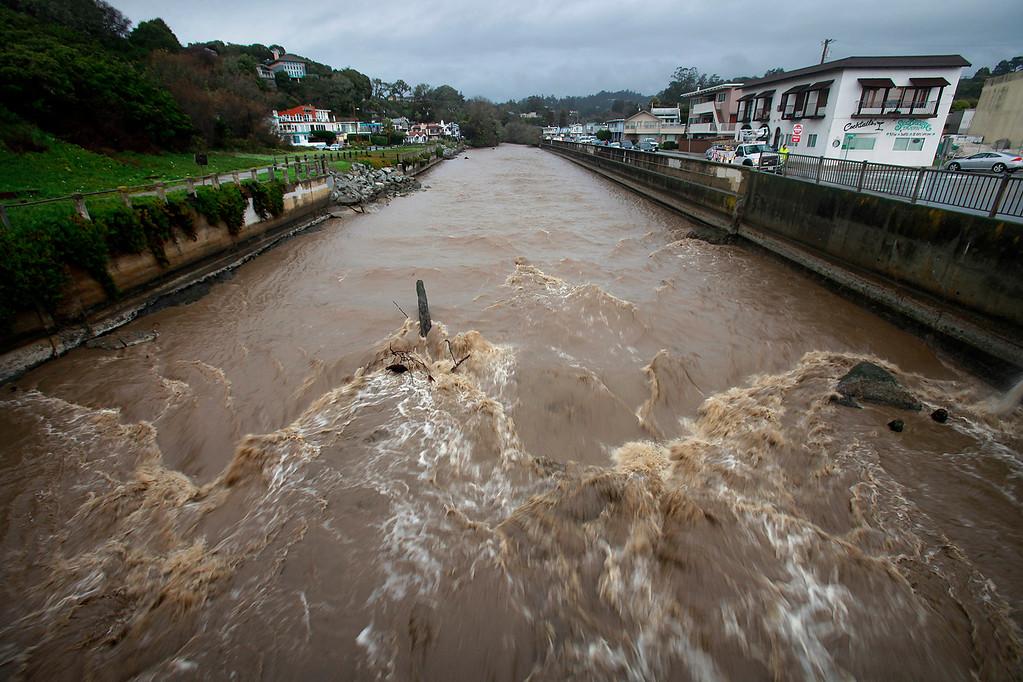. Aptos Creek nears flood stage on Saturday, Jan. 7, 2017.  (Vern Fisher - Monterey Herald)