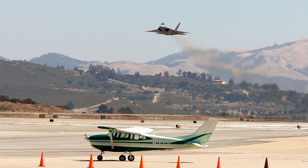 . A USAF F-22 Raptor arrives at the Monterey Regional Airport on Tuesday, Sept. 26, 2017.  The two F-22 Raptor\'s were in town to appear at the California Airshow Salinas this weekend.  (Vern Fisher - Monterey Herald)