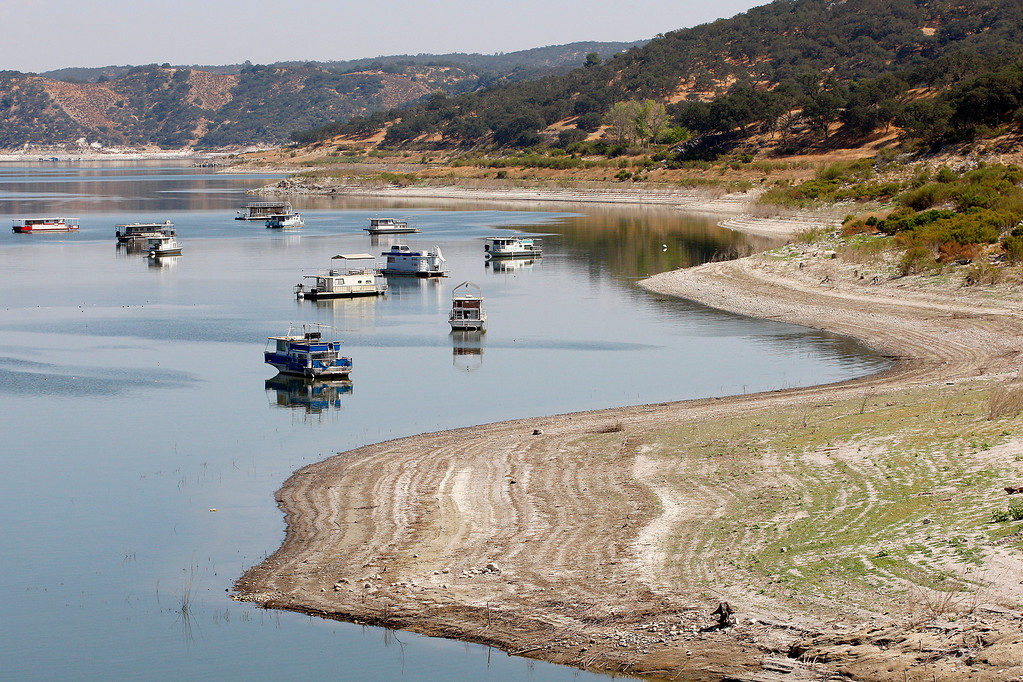 . Houseboats anchored at Lake San Antonio in southern Monterey County on Friday, Aug. 25, 2017.  (Vern Fisher - Monterey Herald)