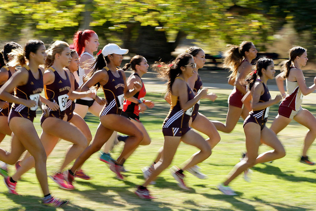 . Start of the womens Coast Conference Cross Country Finals race at Toro Park on Friday, Oct. 27, 2017.   (Vern Fisher - Monterey Herald)
