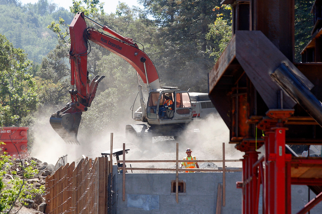 . Work on the south anchorage at the Pfeiffer Canyon Bridge consturction site on Highway One in Big Sur on Wednesday, July 19, 2017.  (Vern Fisher - Monterey Herald)